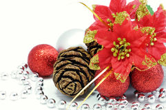 Christmas flower with balls Royalty Free Stock Image