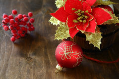 Christmas flower and balls Royalty Free Stock Image