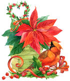 Christmas flower and cute birds background. watercolor illustration Royalty Free Stock Photo