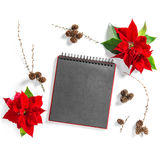 Christmas flower Poinsettia empty sketchbook page Floral Flat la Stock Photography