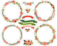 Christmas flower wreath borders Royalty Free Stock Images