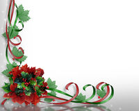 Christmas flowers and ribbons corner design Stock Photography