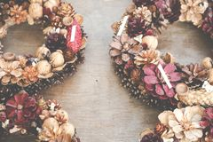 Christmas flowers wreaths decorations in Cracow Christmas market. In Poland Royalty Free Stock Images