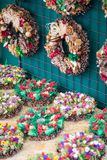 Christmas flowers wreaths decorations in Cracow Christmas market. In Poland Stock Images