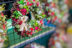 Christmas flowers wreaths decorations in Cracow Christmas market. In Poland Royalty Free Stock Photos