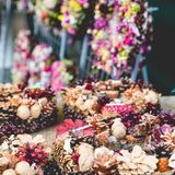 Christmas flowers wreaths decorations in Cracow Christmas market. In Poland Stock Photos