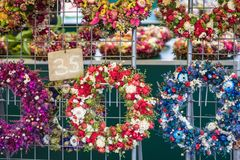 Christmas flowers wreaths decorations in Cracow Christmas market. In Poland Royalty Free Stock Photo