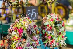 Christmas flowers wreaths decorations in Cracow Christmas market. In Poland Royalty Free Stock Photography