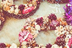 Christmas flowers wreaths decorations in Cracow Christmas market. In Poland Stock Image