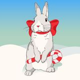 Christmas fluffy white standing rabbit Royalty Free Stock Photography