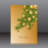 Christmas flyer with with Christmas tree and Christmas toys Royalty Free Stock Photo