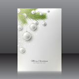 Christmas flyer with with Christmas tree and Christmas toys Royalty Free Stock Image