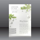 Christmas flyer with with Christmas tree and Christmas toys Stock Image