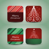Christmas Flyer or Cover Design. Green & Red Christmas Card, Flyer or Cover Design with Fir and Stars Royalty Free Stock Photo