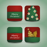 Christmas Flyer or Cover Design. Red and Green Christmas Card, Flyer or Cover with Fir and Stars Design Stock Image