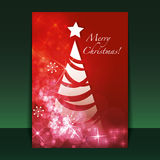 Christmas Flyer or Cover Design. Red Abstract Christmas Card, Flyer or Cover Design with Fir, Stars and Shiny Snowflakes  - Illustration in Editable Vector Royalty Free Stock Photos