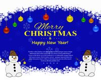 Christmas flyer with decorative elements on a dark background. Vector illustration. Happy New Year and Merry Christmas. Christmas flyer frame in the form of snow Stock Image
