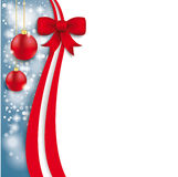 Christmas Flyer Oblong Red Ribbon Stock Images