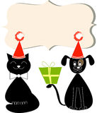 Christmas Flyer/Poster Template with cat and dog Stock Images