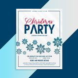 Christmas flyer template with snowflakes and event details. Vector vector illustration