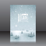Christmas flyer with winter landscape and snowflakes Stock Image