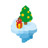 Christmas flying island. Piece of land with tree and present.  Royalty Free Stock Photo