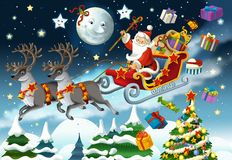 The christmas - flying santa - illustration for the children Stock Photo