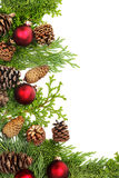 Christmas foliage decorations border Stock Image