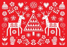 Christmas folk art greeting card with reindeer, flowers, Xmas tree and winter clothes pattern in white on red background - Merry C royalty free illustration