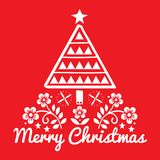 Christmas folk art greeting card with Xmas tree and flowers pattern in white on red background - Merry Christmas decoration royalty free illustration