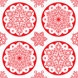 Christmas  folk pattern - red snowflake mandala seamless design  Stock Images