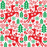 Christmas folk red and green seamless  pattern, Scandinavian folk art  Stock Image