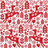 Christmas folk red seamless vector pattern, Scandinavian folk art. Xmas repetitive cute vector background, Nordic style retro ornament Stock Images