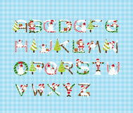 Christmas Font Design A-Z Vector Stock Images