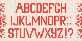 Christmas Font: Scandinavian style  knitted letters and pattern. Royalty Free Stock Photos