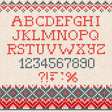 Christmas Font: Scandinavian style seamless knitted ornament pat Stock Image