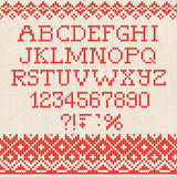 Christmas Font: Scandinavian style seamless knitted ornament pat Royalty Free Stock Images