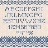 Christmas Font: Scandinavian style seamless knitted ornament pat Stock Photo