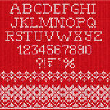 Christmas Font: Scandinavian style seamless knitted Royalty Free Stock Photo