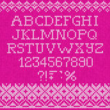 Christmas Font: Scandinavian style seamless knitted Stock Images