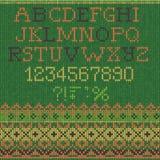 Christmas Font: Scandinavian style seamless knitted Stock Image
