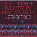 Christmas Font: Scandinavian style seamless knitted Royalty Free Stock Images