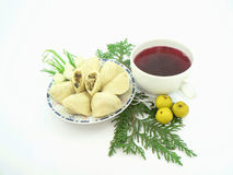 Christmas food. (soup,christmas tree,all white royalty free stock images
