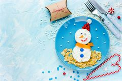 Christmas food art snowman healthy breakfast. For kids stock photos
