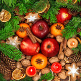 Christmas food backdround. Fruits, spices and cookies royalty free stock photo