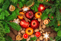 Christmas food backdround. Fruits, spices and cookies Royalty Free Stock Photography