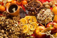 Christmas food background. Very colorful Stock Photography