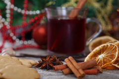 Christmas and food background. Anise star and food background with muller wine Stock Photo