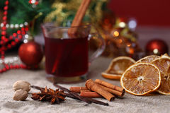Christmas and food background. Christmas and food backround with mulled wine Stock Photography