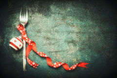 Christmas food background with fork and festive holiday decorations Royalty Free Stock Photography